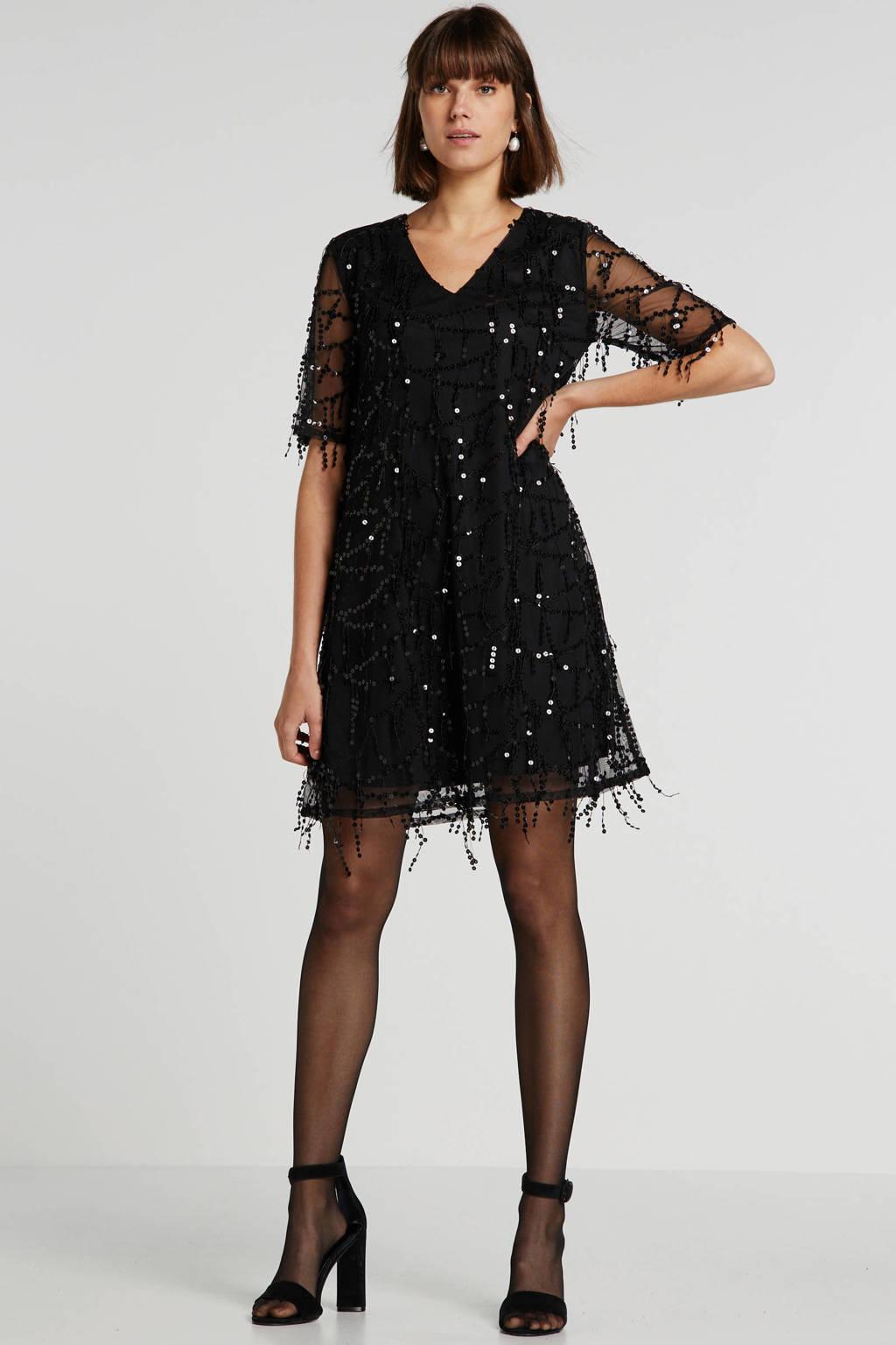 wehkamp mesh jurk met pailletten zwart, Zwart