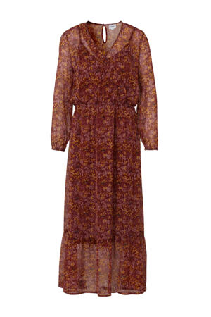 gebloemde semi-transparante jurk rood multi