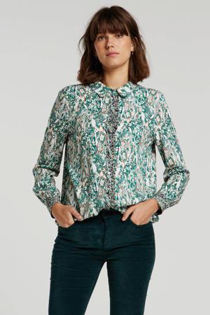 blouse met all over print en ruches groen multi