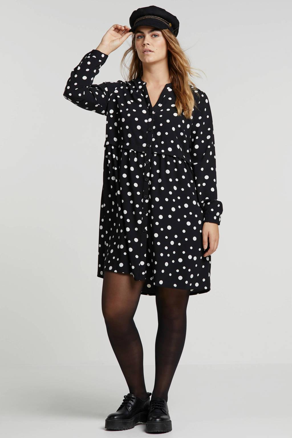 anytime jurk met stippen zwart/wit, Zwart/wit