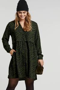 anytime jurk met zebraprint groen/donkerblauw, Groen/donkerblauw