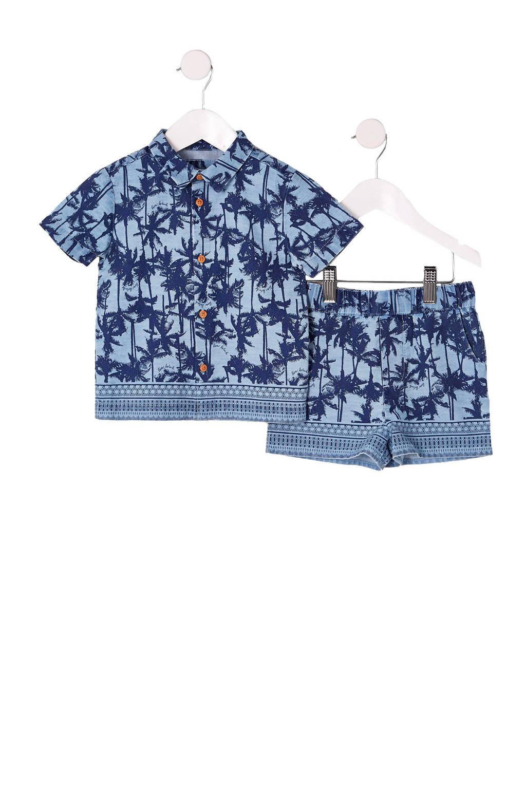River Island overhemd met korte broek met alloverprint blauw, Blauw/lichtblauw
