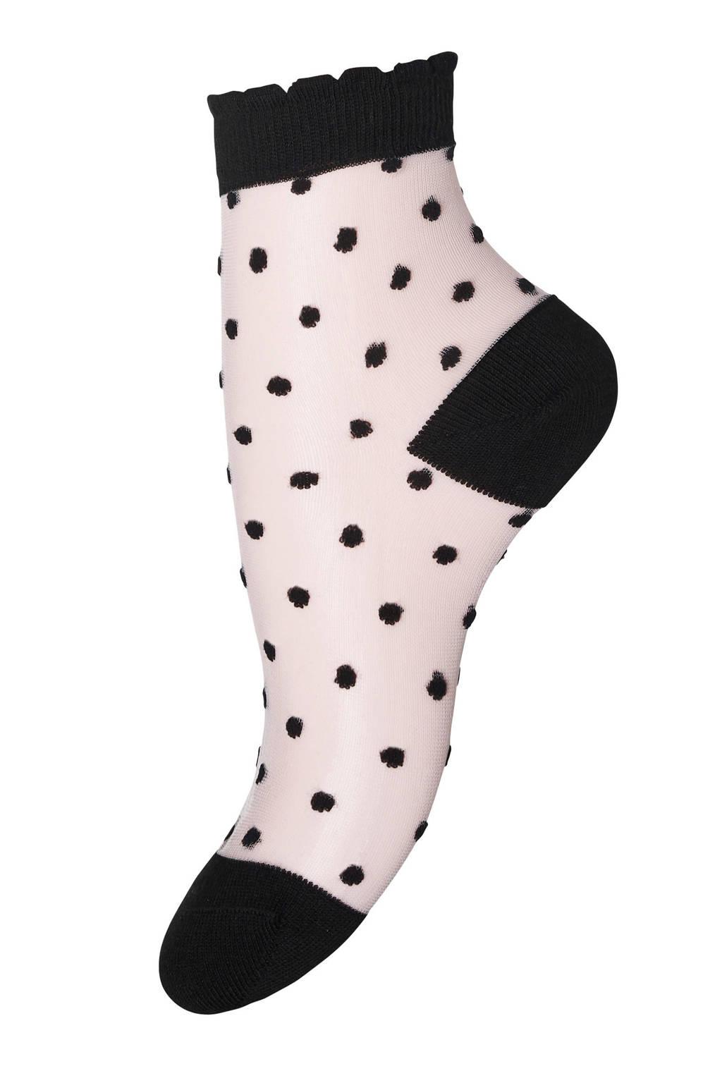 mp Denmark sokken met stippen, Ecru/zwart