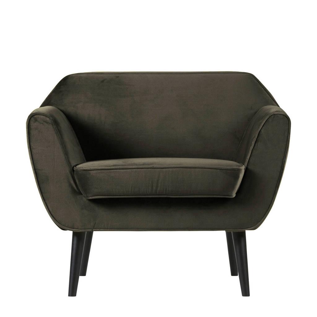 Woood fauteuil Rocco, Donkergroen