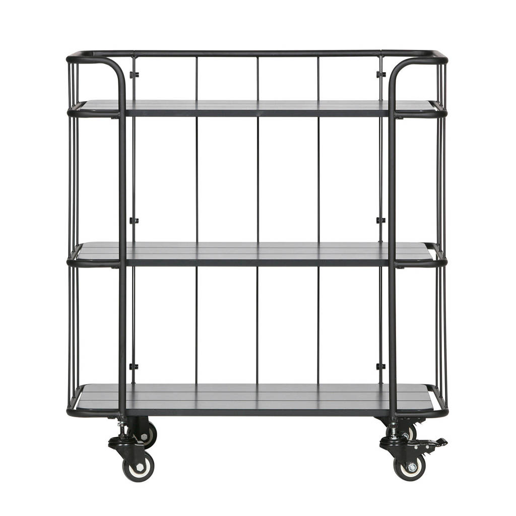 Woood wandkast trolley Caro, Zwart