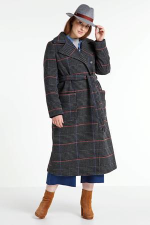 geruite coat met wol donkergrijs/zwart