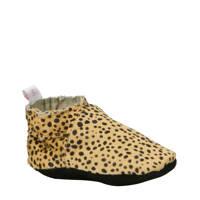 Babysteps Leopard leren babyslofjes, Bruin/zwart