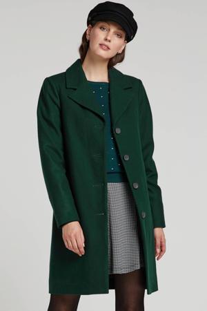 coat met wol donkergroen