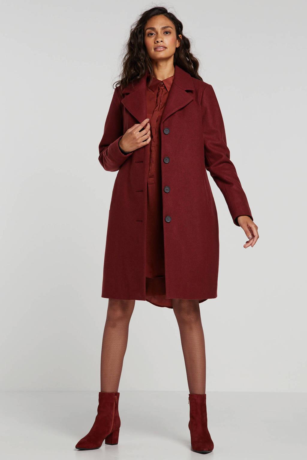 anytime coat met wol donkerrood, Donkerrood