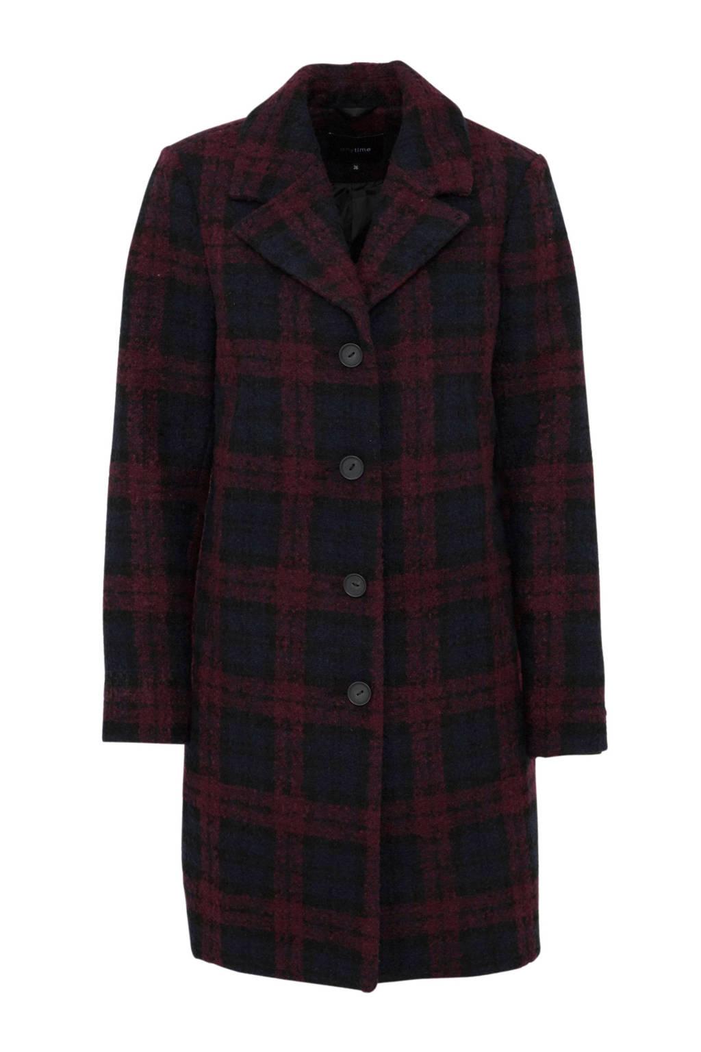 anytime geruite coat donkerrood/donkerblauw, Donkerrood/donkerblauw