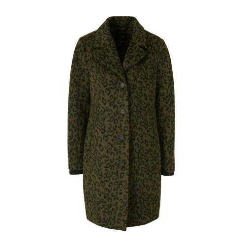 anytime coat met wol en panterprint groen/zwart