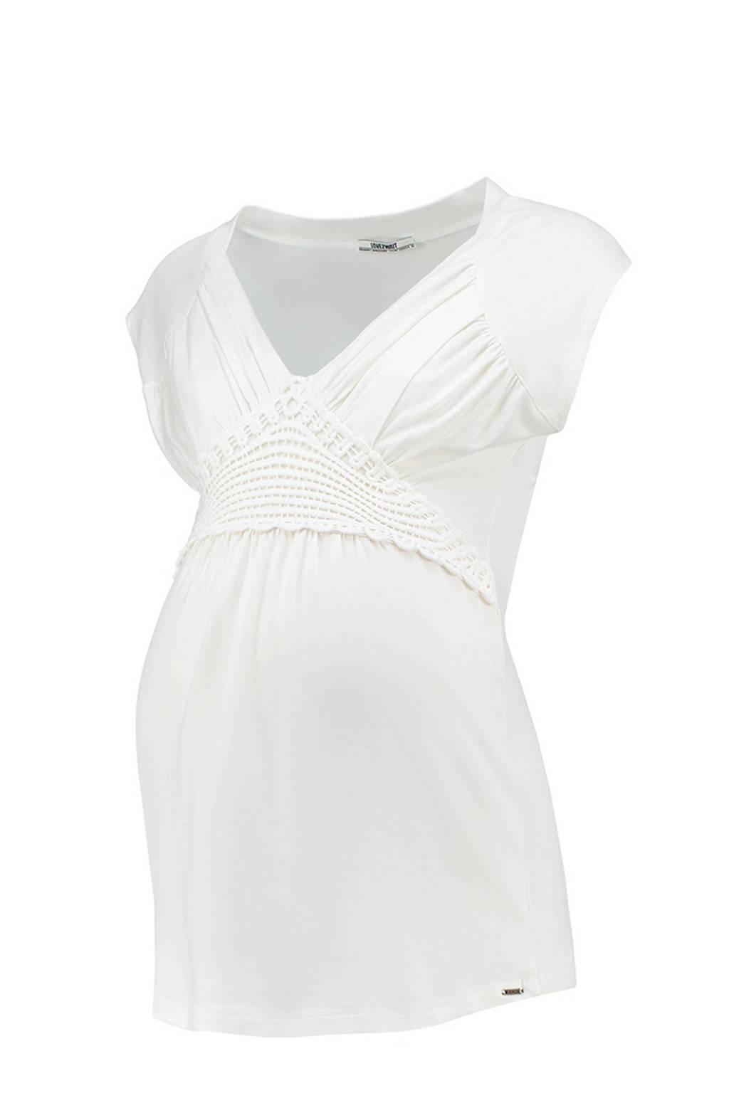LOVE2WAIT zwangerschap + voeding T-shirt wit, Gebroken wit