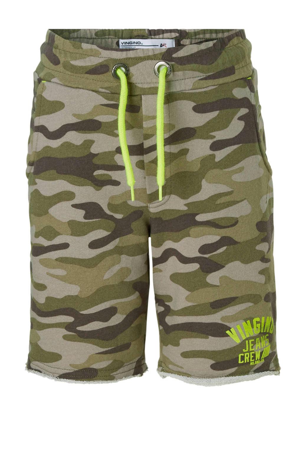 Vingino sweatshort Rabi met camouflageprint army groen/bruin, Army groen/bruin