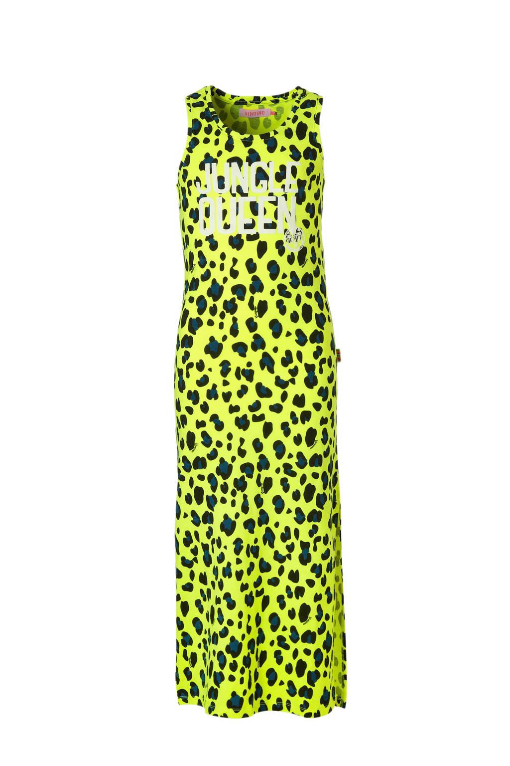 Vingino maxi jurk Pariane met panterprint neon geel, Neon geel/zwart
