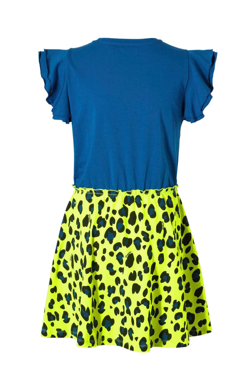 Vingino jurk met panterprint en tekst neon geel, Neon geel/blauw/zwart