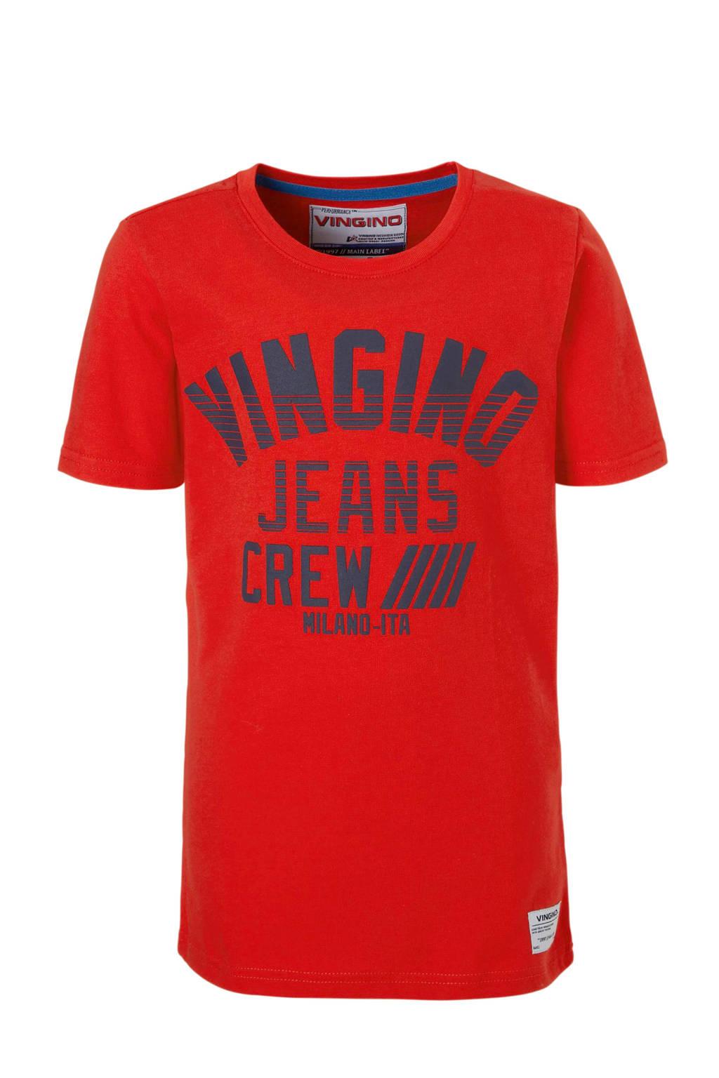 Vingino T-shirt Hadel met logo rood, Rood/zwart