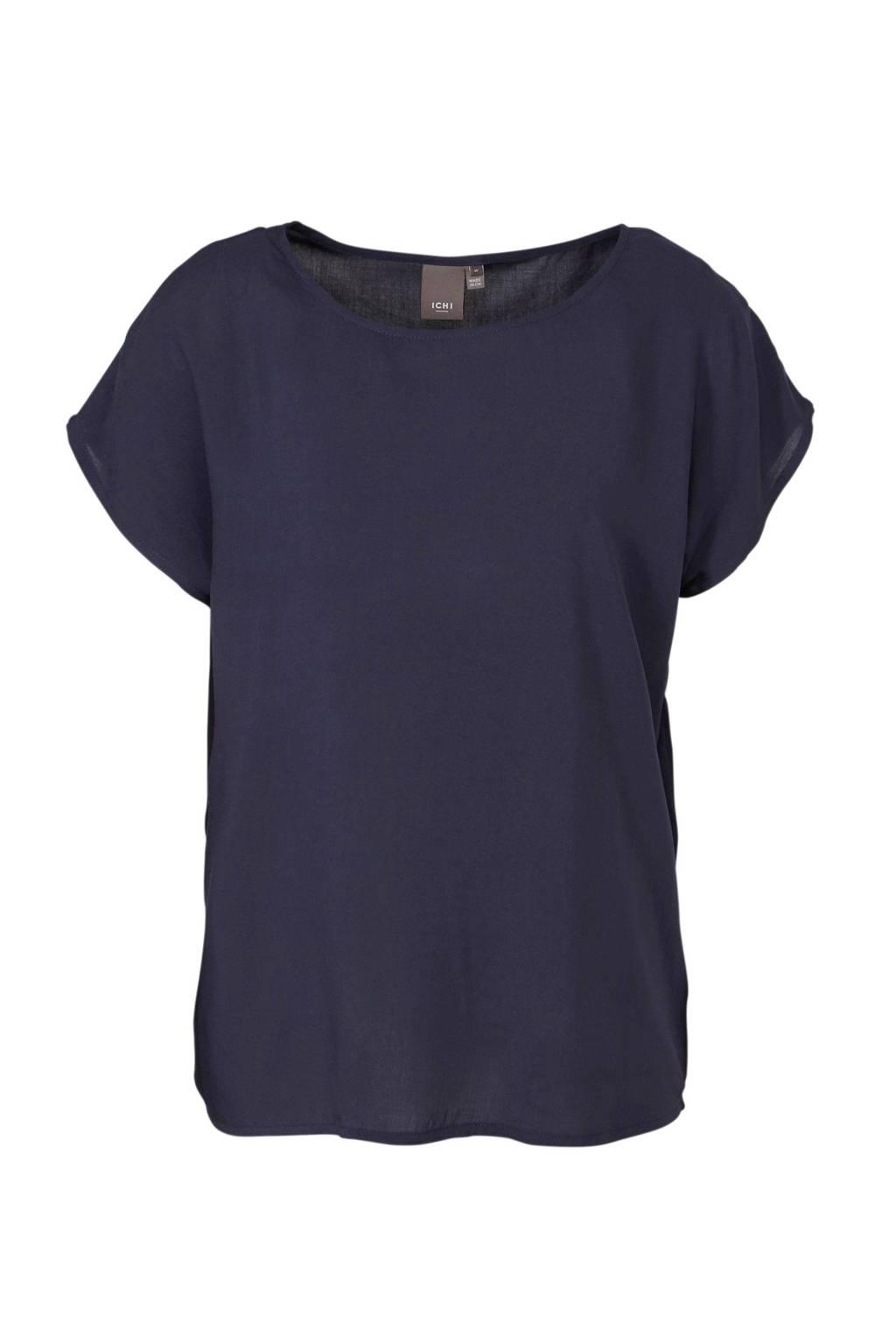 ICHI T-shirt donkerblauw, Donkerblauw