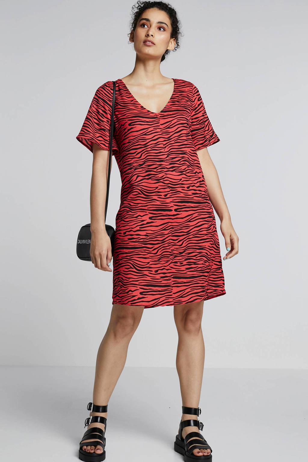 Eksept jurk met zebraprint, Rood/zwart