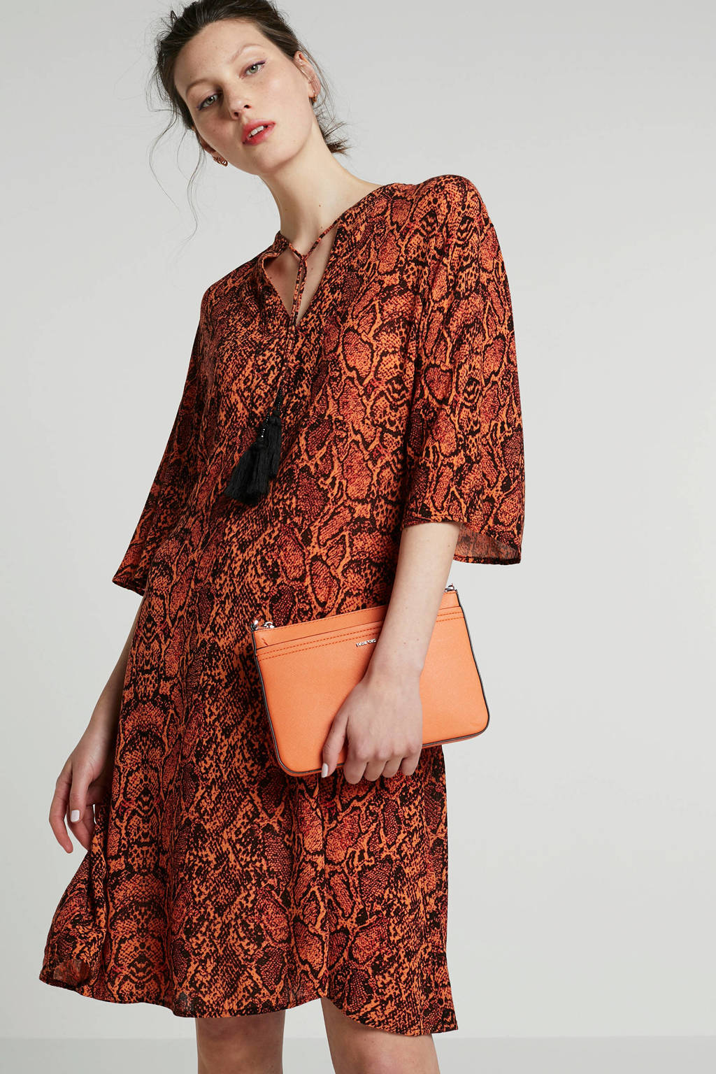 Eksept jurk met slangenprint, Oranje