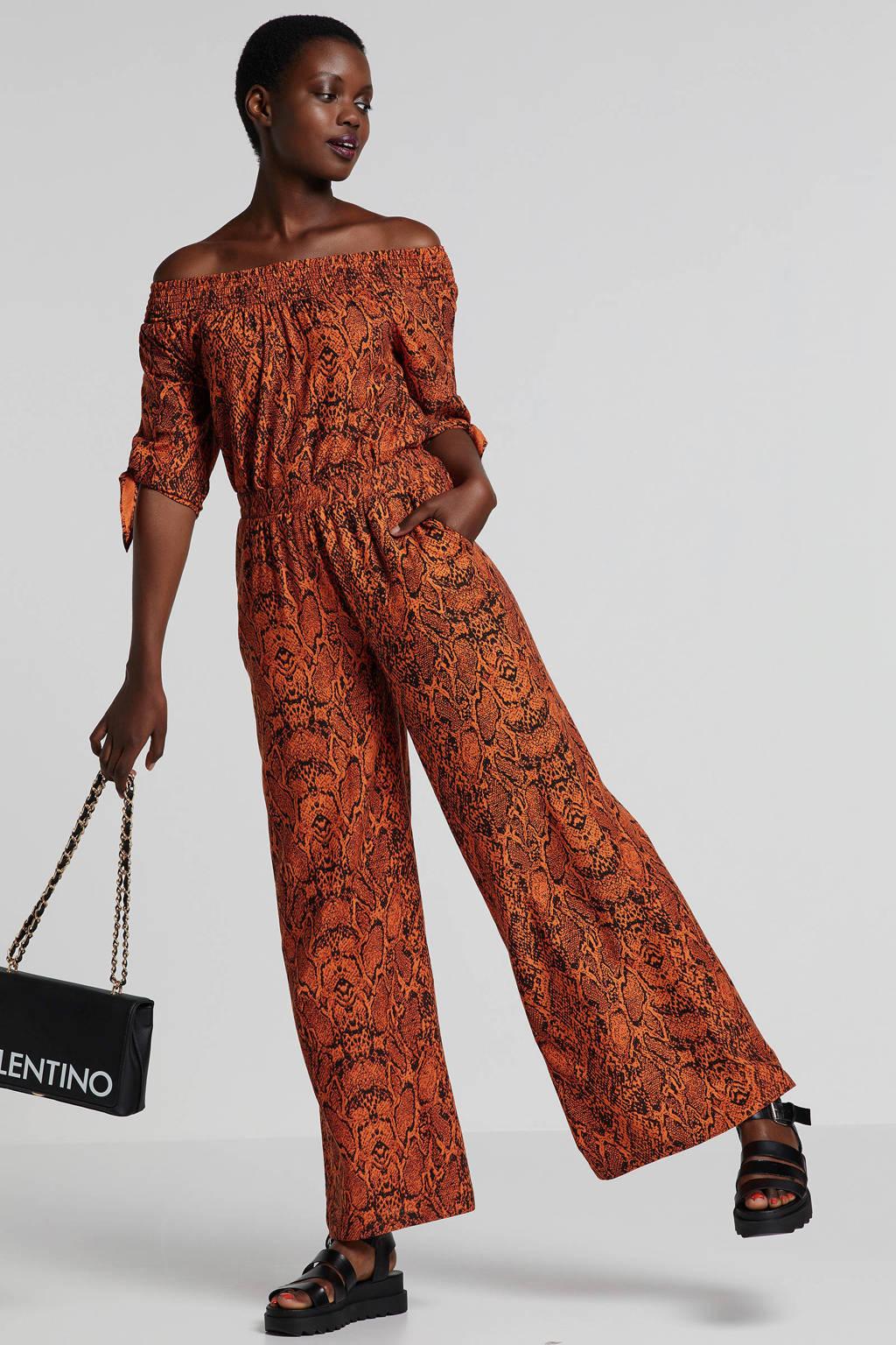 Eksept off schoulder top met langenprint, Oranje/zwart