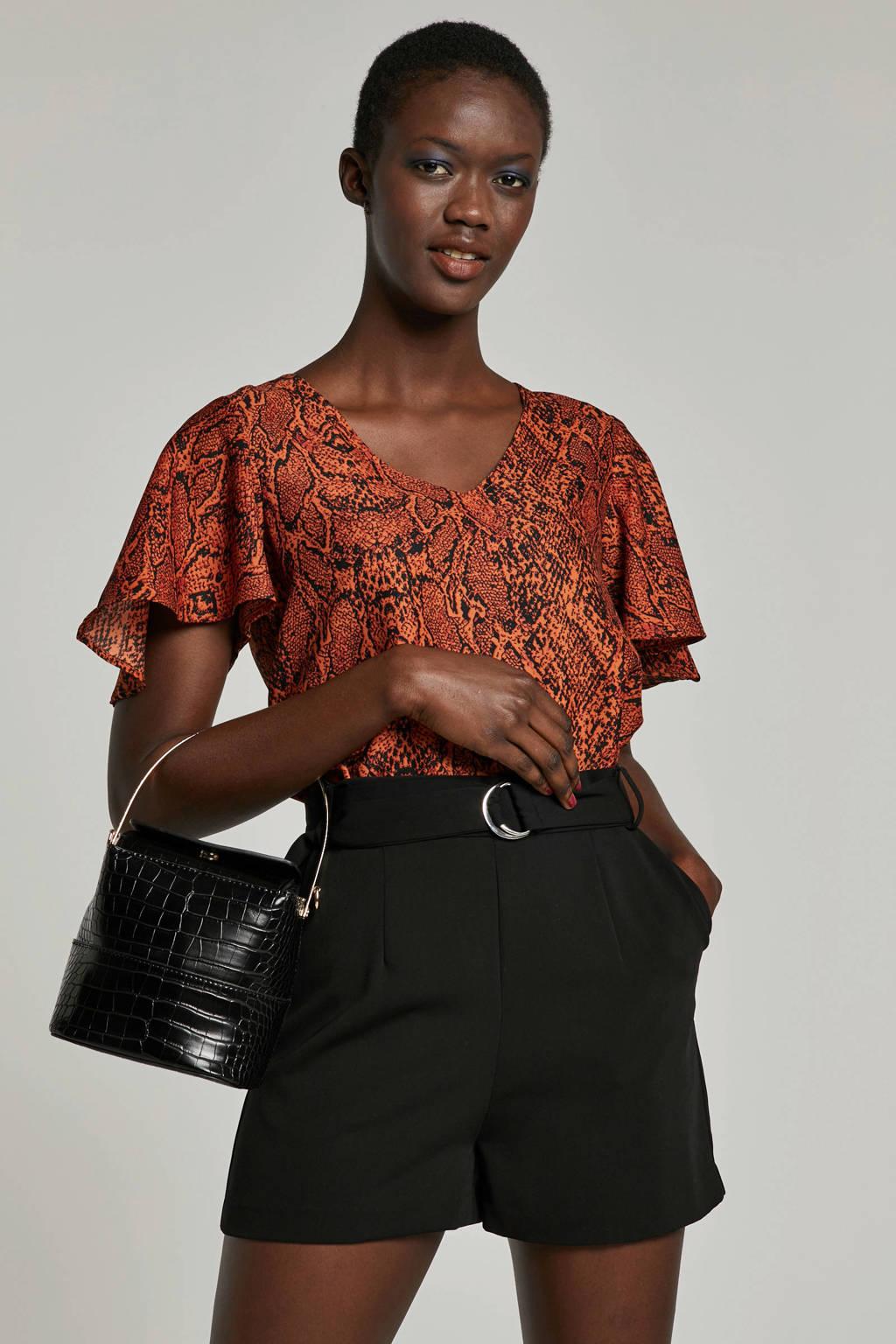 Eksept T-shirt met slangenprint, Rood/oranje/zwart