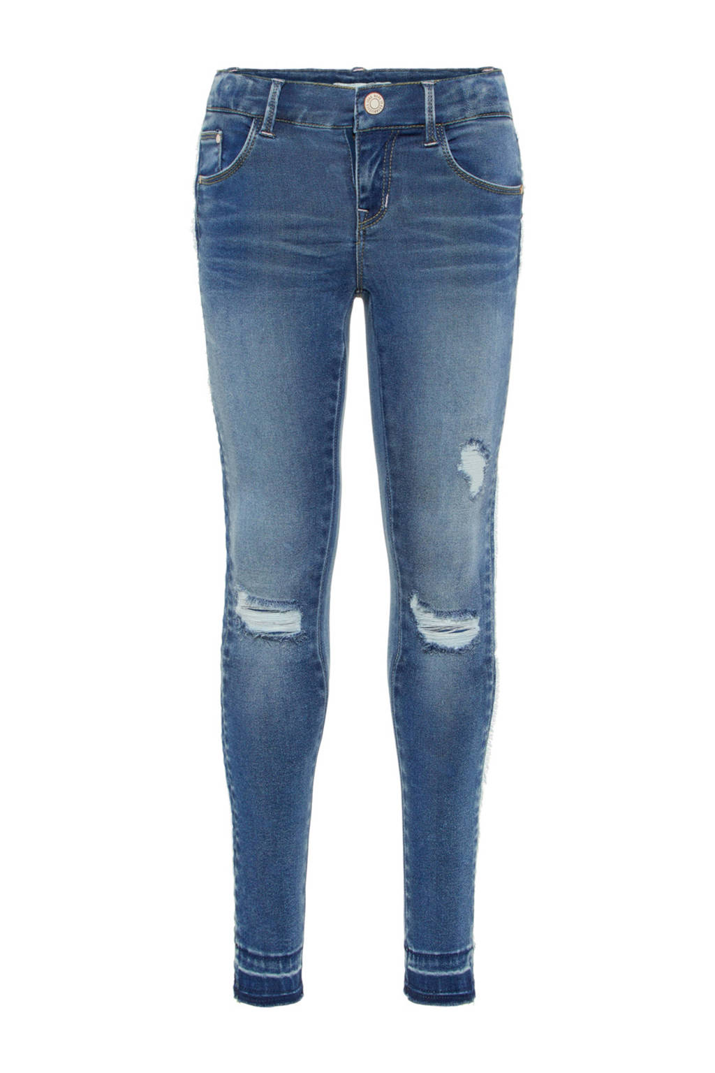 name it KIDS skinny fit jeans Polly met slijtage details, Blauw