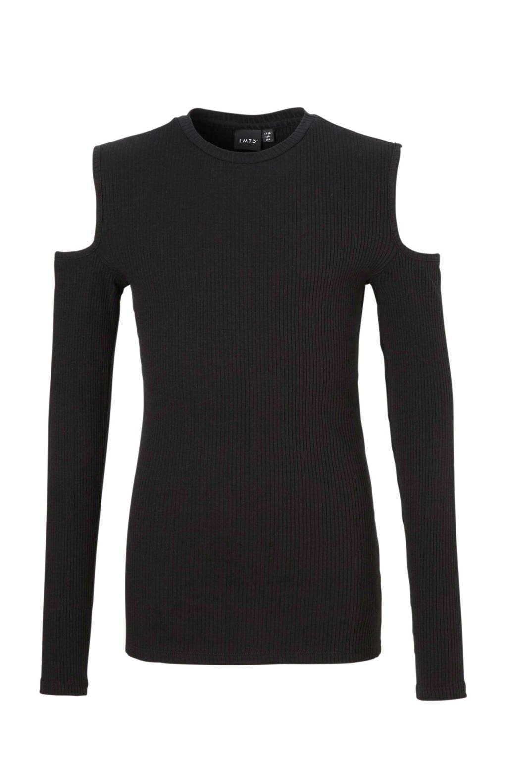 LMTD open shoulder top zwart, Zwart