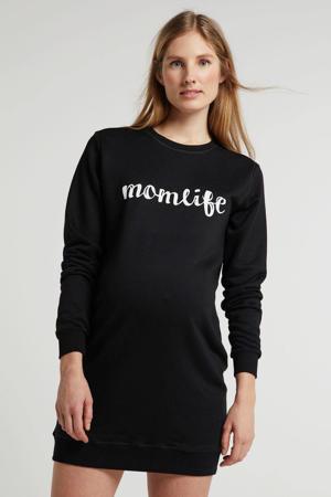 zwangerschaps sweatjurk Momlife met tekst zwart