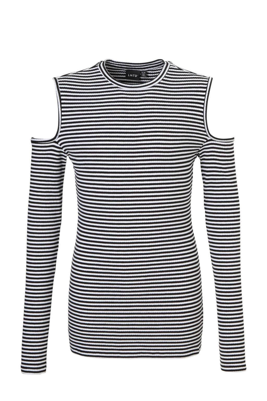 LMTD open shoulder top zwart/wit, Zwart/wit
