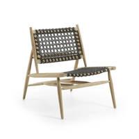 Kave Home fauteuil Unique, Antraciet/hout