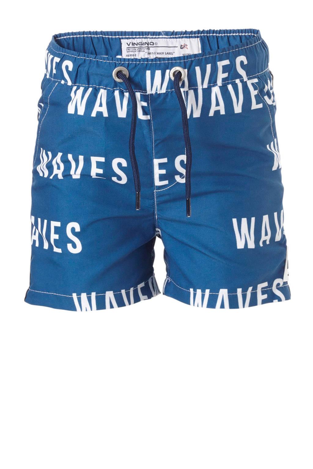 Vingino zwemshort met printopdruk blauw, Petrol/wit