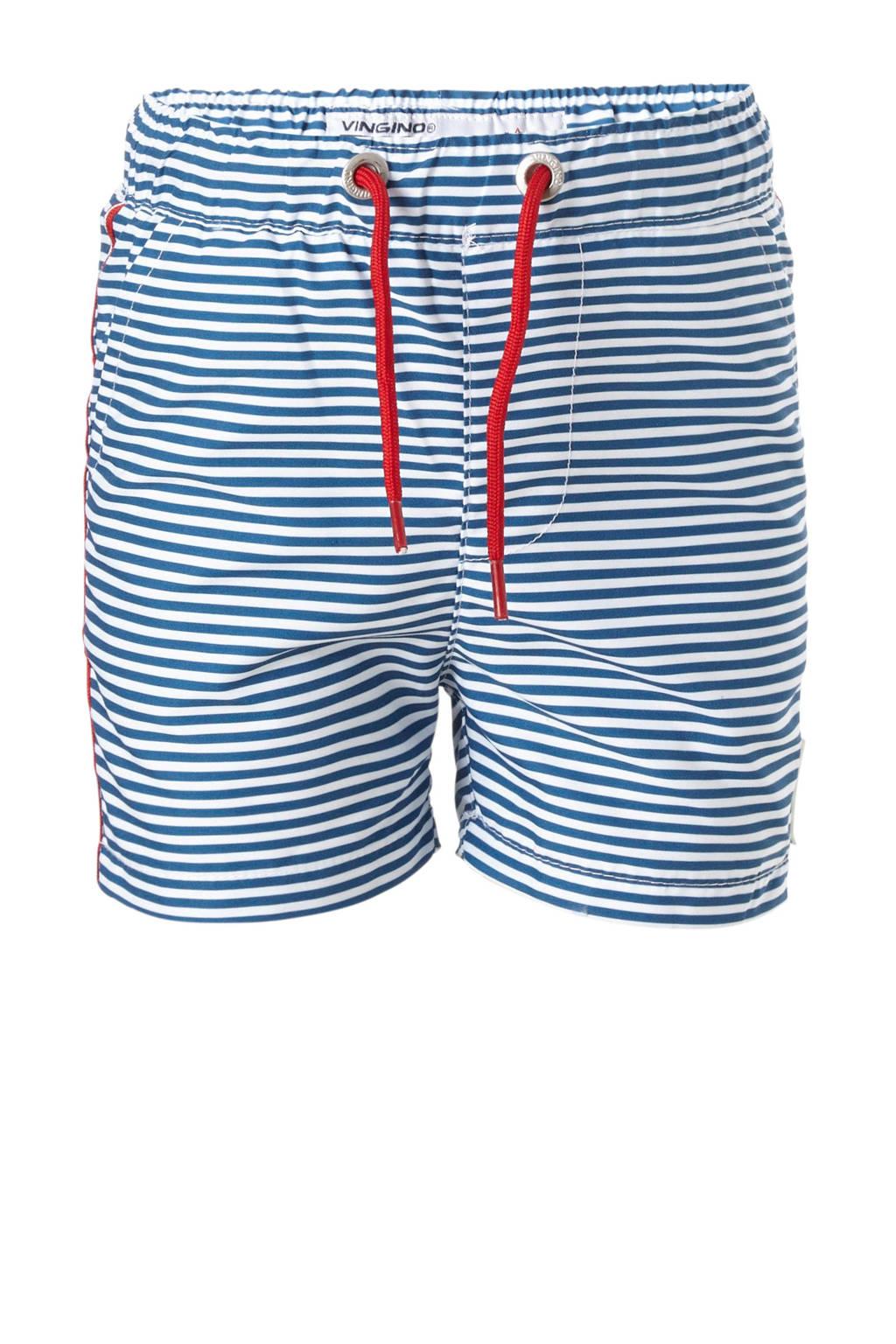 Vingino gestreepte zwemshort blauw, Blauw/wit