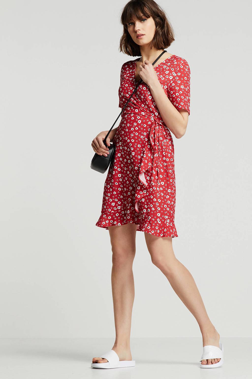 wikkel-look jurk met bloemenprint, Rood/wit/zwart