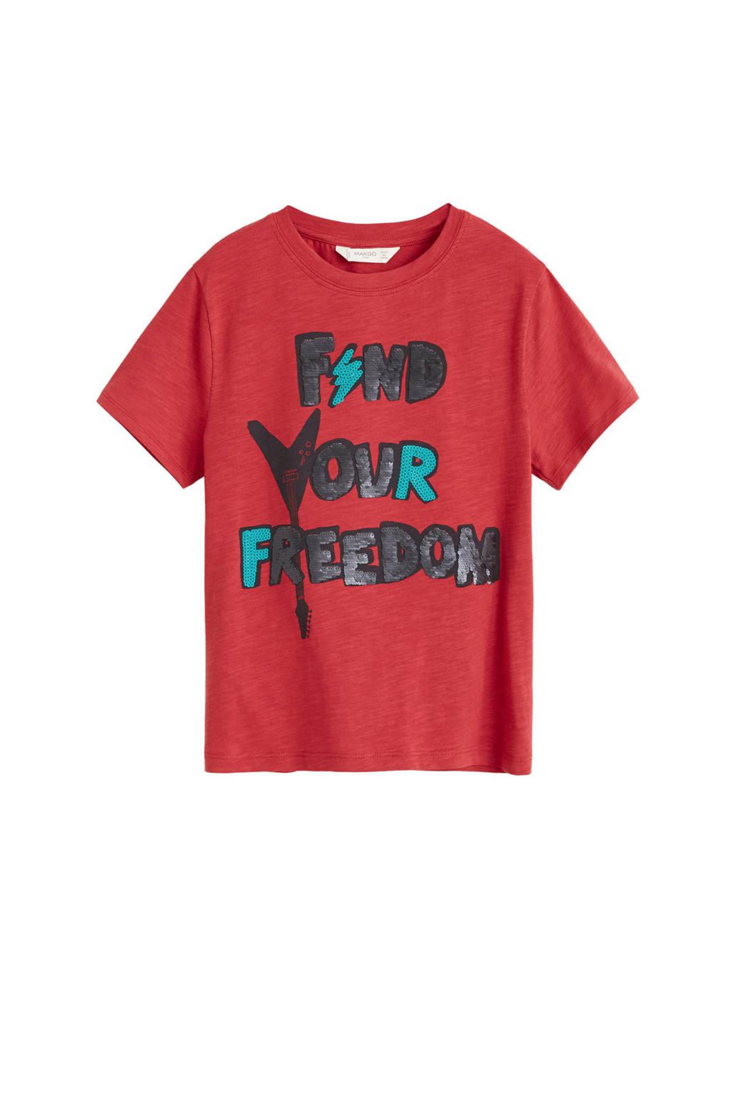 Mango Kids T-shirt met tekst en pailletten rood, Rood