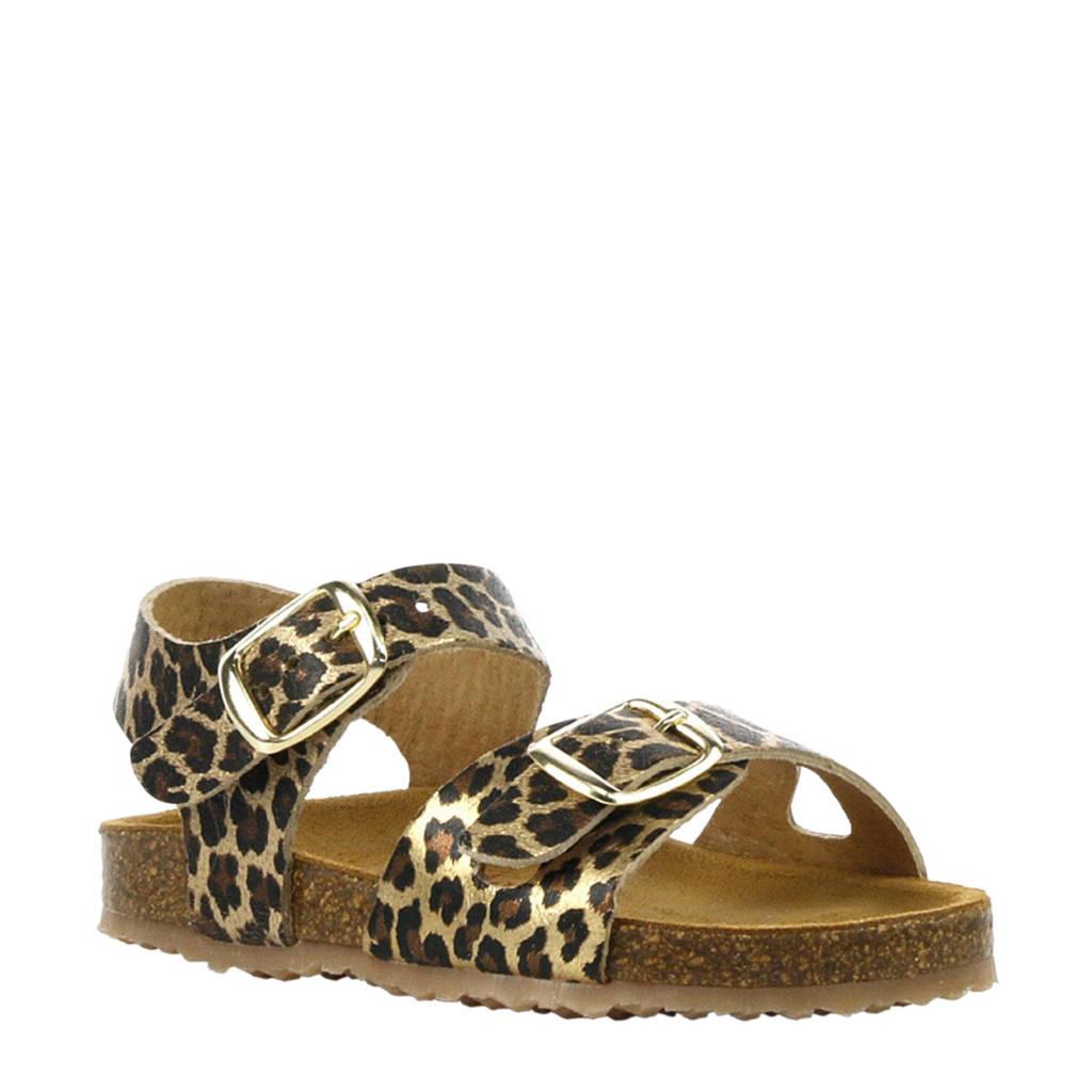 Develab   leren sandalen met panterprint, Diversen