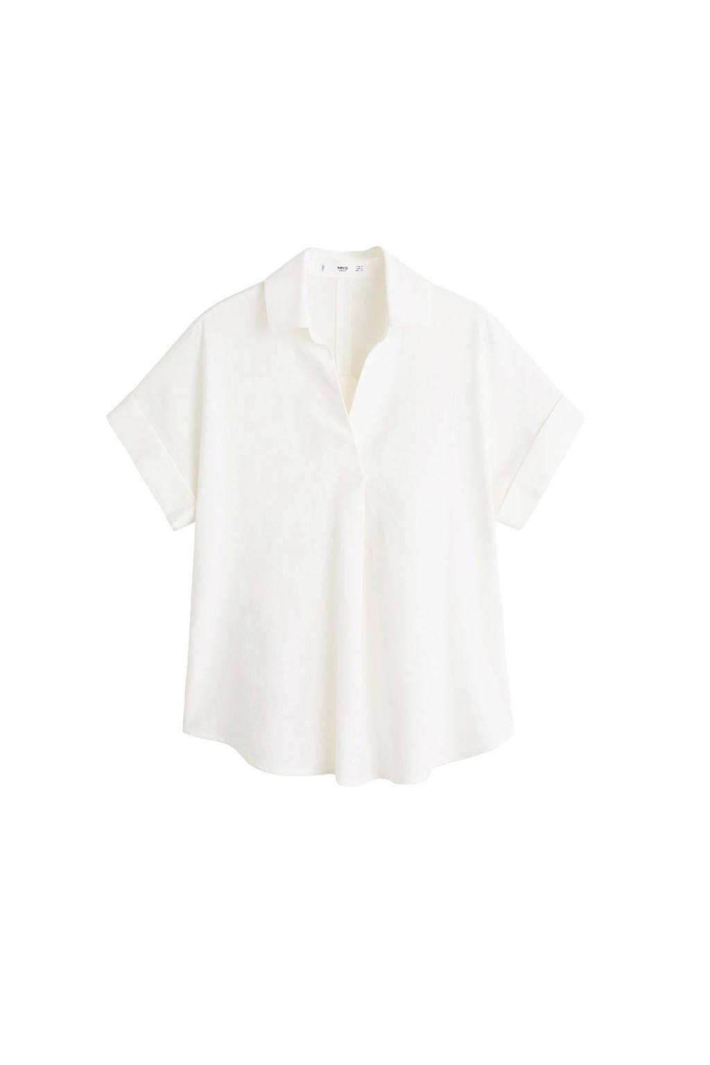 Mango linnen blouse wit, Wit