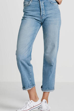 high waist straight fit jeans light denim