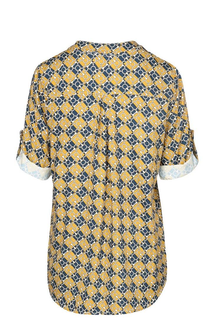 kettingprint oker Cassis blouse oker Cassis blouse met met Cassis blouse kettingprint met rAxHxwt