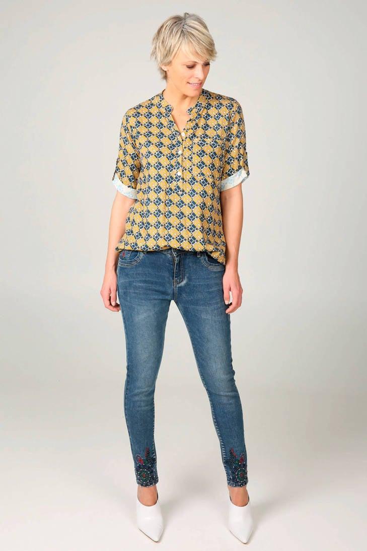 met blouse kettingprint oker met blouse Cassis kettingprint Cassis oker qYfxndwd6X