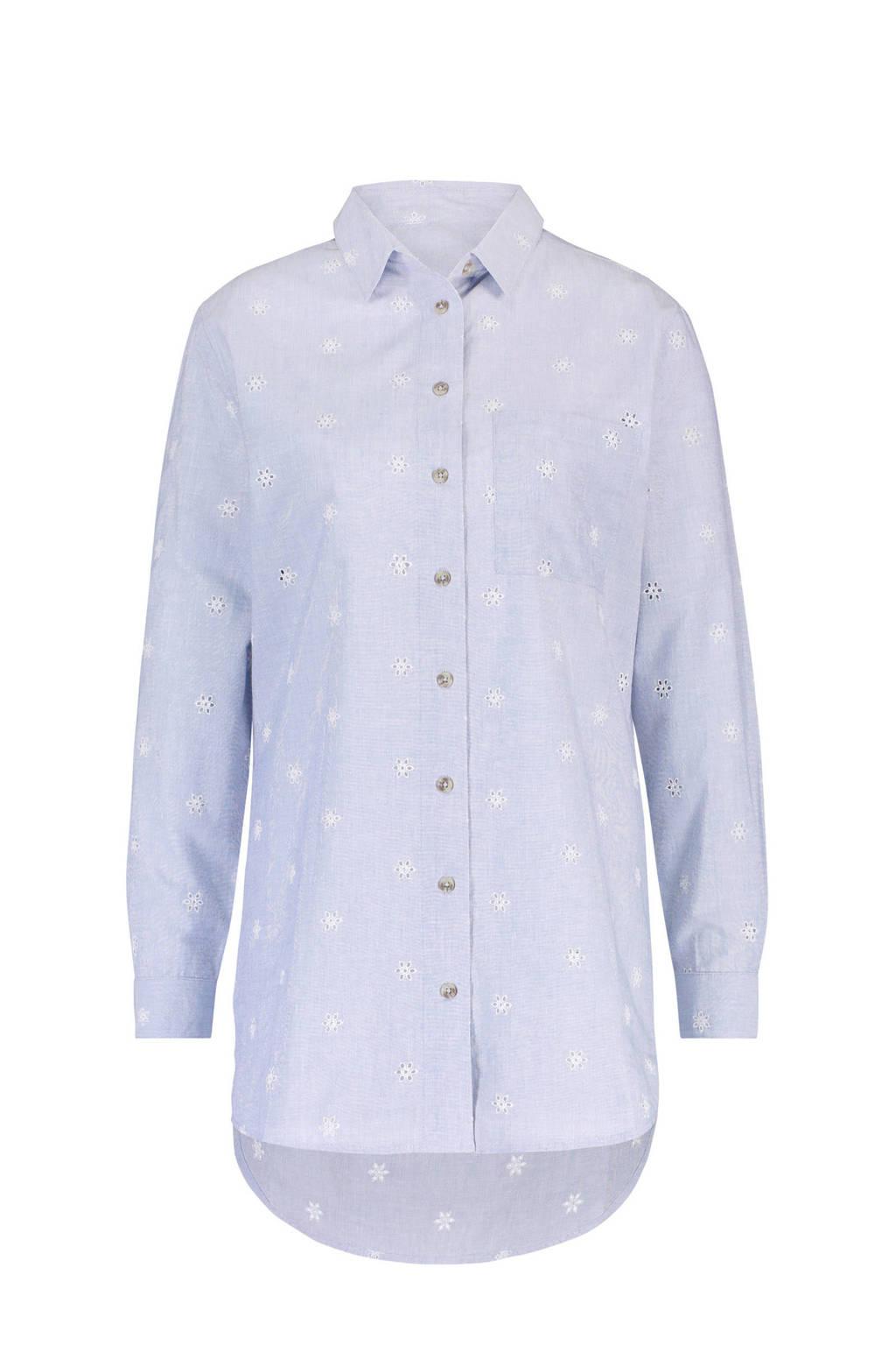 Hunkemöller nachthemd menshirt Jersey met all over cut outs lichtblauw/wit, Blauw