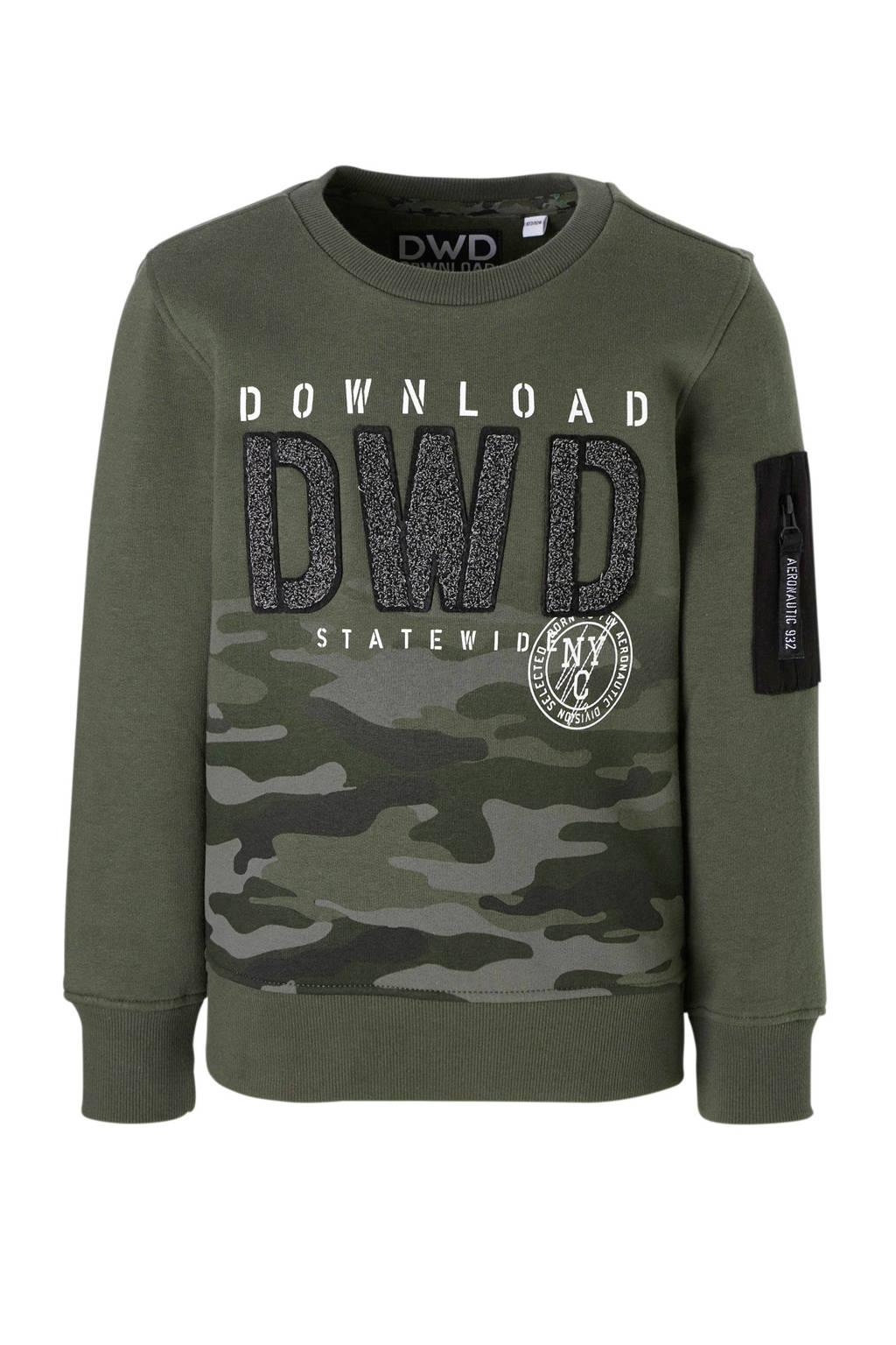C&A Here & There sweater met camouflageprint groen, Legergroen/zwart