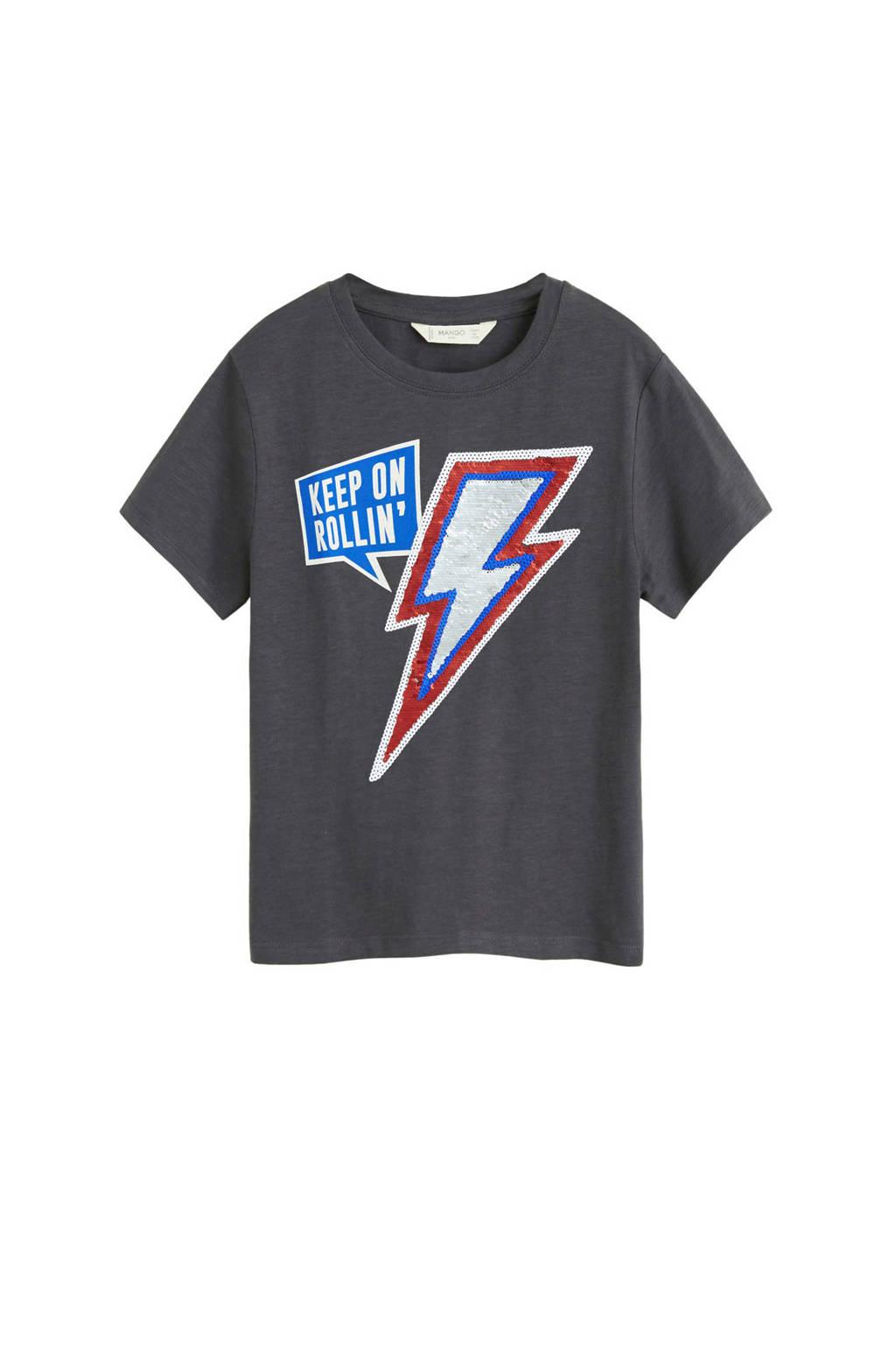 Mango Kids T-shirt met tekst en pailletten grijs, Donkergrijs