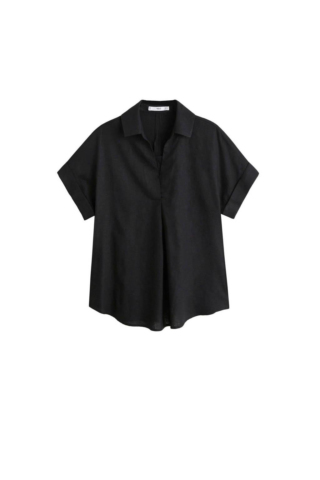 Mango linnen blouse zwart, Zwart