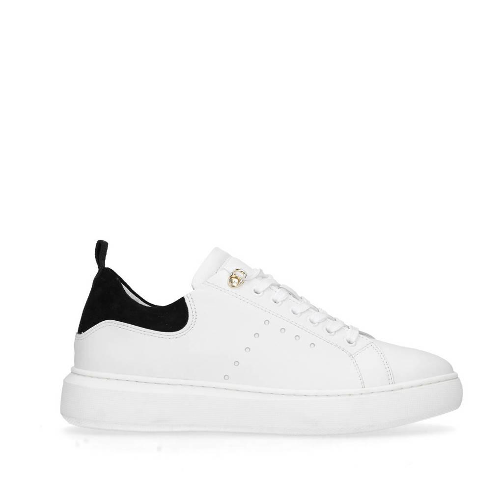 Sacha   leren sneakers wit/zwart, Wit/zwart
