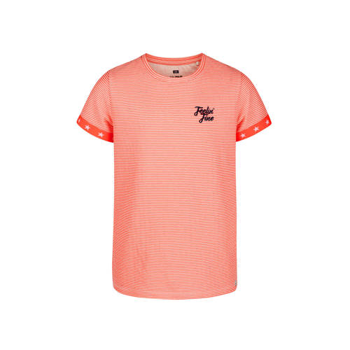 WE Fashion gestreept T-shirt neon oranje