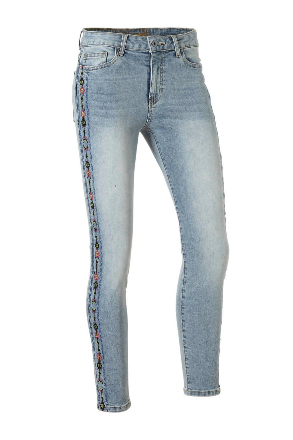 Desigual skinny jeans met borduursels, Lichtblauw