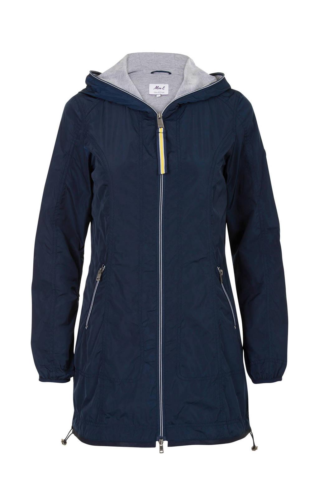 Miss Etam Regulier parka met contrasterende jersey voering, Blauw