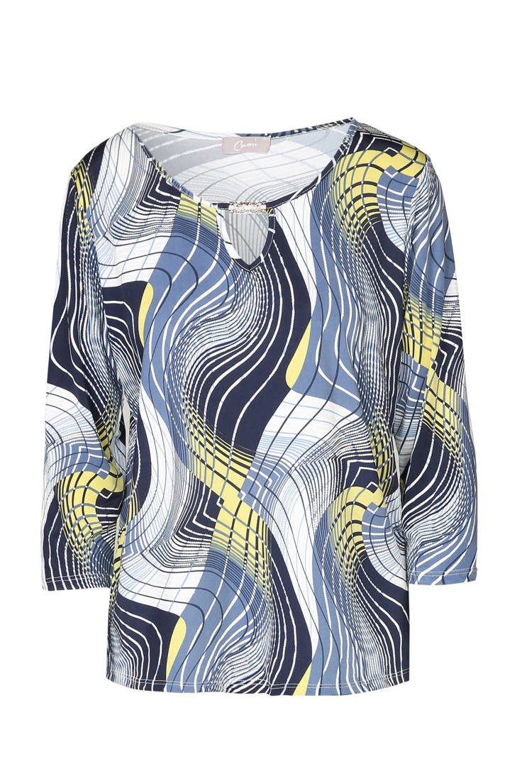 blouse over all Cassis print met blauw dqHqnatxw