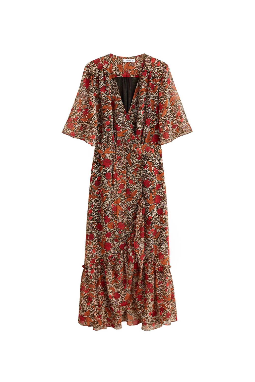 Mango jurk met all over print bruin, Bruin