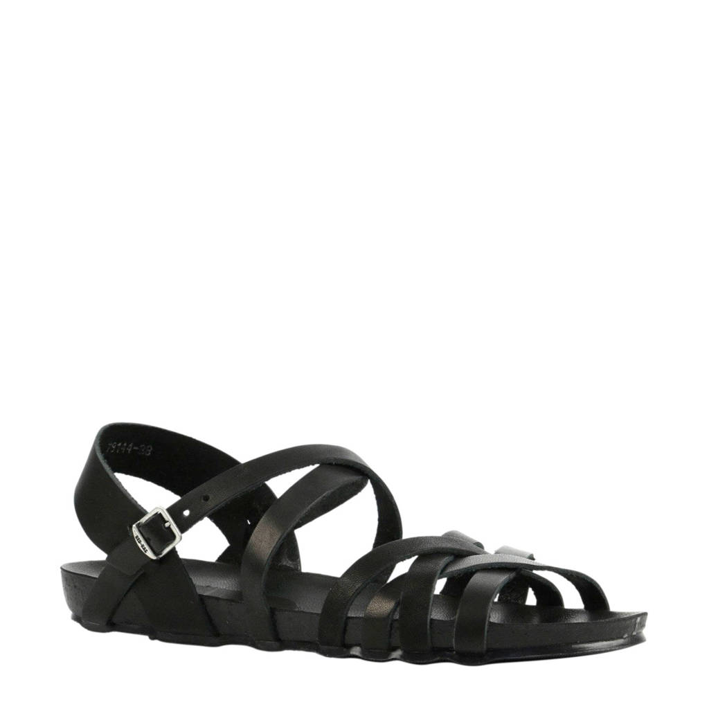 Red Rag 79226  leren sandalen zwart, Zwart